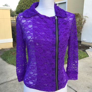 WEISSMAN Women's Size M Deep Purple Stretch Lace Zipper Top