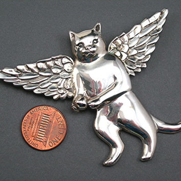 "Sterling Silver Angel Cat Brooch, Large 3-1/4"" by 2-1/2"" Vintage Fine Jewelry Kitty Pin, c1980s"