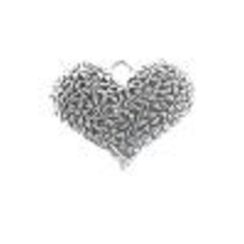 AB-0099 - Antique Silver Pewter Puffed Heart Pendant With Flowers, 33x40mm | Pkg 1