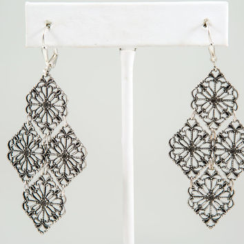 Filigree Earrings, Brass or Silver