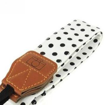 White with Black Polka Dots Camera Strap Photographers Gift - CAST29