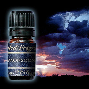 Monsoon Perfume Oil: 5mL Amber Bottle, 10mL Roll-on Bottle, Fresh Rain, Artisan Fragrance, Alcohol Free