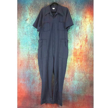Polyester Jumpsuit Vintage Michael Myers Halloween Costume Retro Mens Large Leisure Suit One Piece Short Sleeve Blue Mechanic Work Coveralls