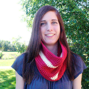 ON SALE - Brick Red & Ivory Striped Crocheted Cowl