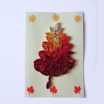 Autumn Leave Quilling Card, Autumn Handmade Greeting Card, Fall Leave Card