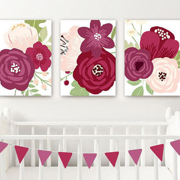 Flower Nursery Wall Art, Maroon Floral Nursery Wall Decor, CANVAS or Print, Maroon Bedroom Wall Decor, Floral Bathroom Decor, Set of 3 Art