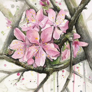Cherry Blossom Watercolor Art Print, Spring Painting, Pink Flower Illustration, Giclee