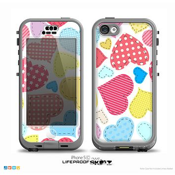 The Fun Colored Heart Patches Skin for the iPhone 5c nüüd LifeProof Case