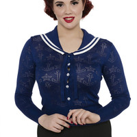 Navy Blue Anchor Nautical Cardigan