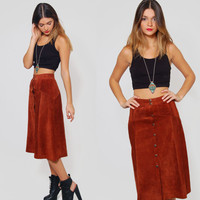 Vintage 70s SUEDE Skirt Caramel Brown Leather PATCHWORK Festival Midi Skirt Boho Skirt Hippie Skirt