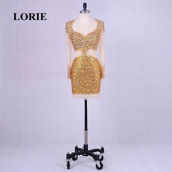 LORIE Short Evening Dress Mermaid Long Sleeve See Through Real Gold Prom Dress 2018 Beaded with Rhinestones Tulle Party Gown