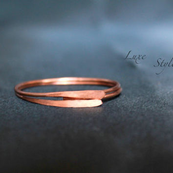 Copper Wire Round Ear Rings Hoop Handmade Metal Jewelry Hammered Everyday Wear Luxe Style