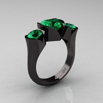 Nature Classic 14K Black Gold 2.0 Ct Heart Emerald Three Stone Floral Engagement Ring Wedding Ring R434-14KBGEM