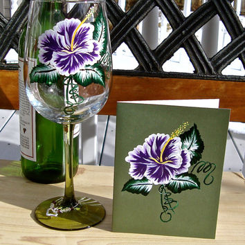 Unique Gift Hand Painted Wine Glass And Matching Card