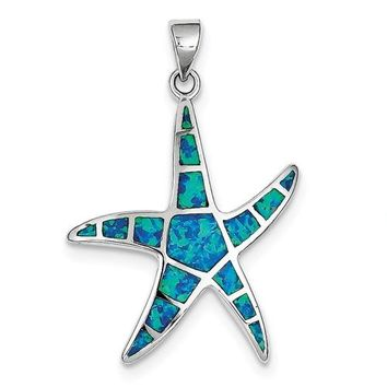 Sterling Silver Created Blue Opal Starfish Pendant