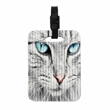 "Suzanne Carter ""Cat"" Gray Digital Decorative Luggage Tag"