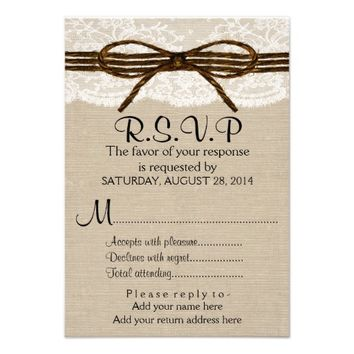 Ivory Lace & Rustic Twine Bow Burlap Wedding RSVP Invites