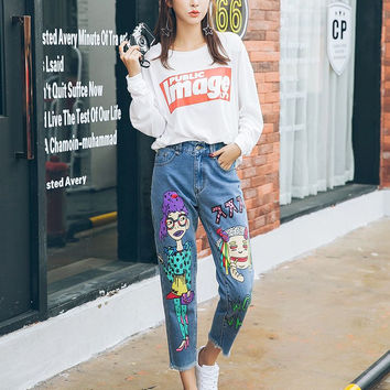 2016 Spring Painting Graffiti Hip-hop Style Hole Jeans Women Ripped Denim Pants Boyfriend Style Cartoon Jeans Trousers 91203