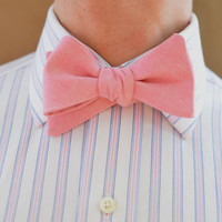 Men's Bow Tie in Pink Oxford Cotton- wedding groomsmen pink freestyle adjustable bowtie neck self tie