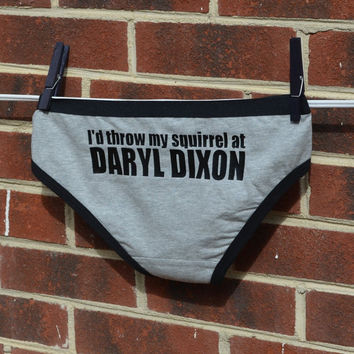 """The Walking Dead TV show inspired Hipster Panties ... """" I'd Throw My Squirrel at Daryl Dixon """" ...  Womens Underwear"""
