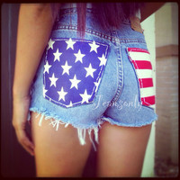 American flag shorts,High waist denim shorts,US flag shorts by Jeansonly