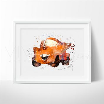 Mater, Cars Watercolor Art Print