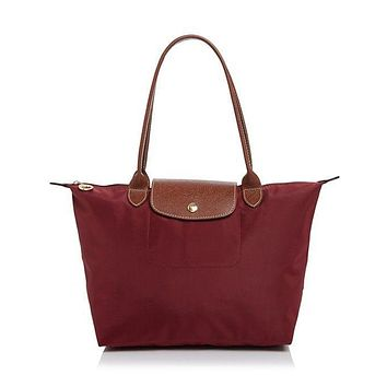 NEW AUTHENTIC LONGCHAMP LE PLIAGE MEDIUM NYLON LEATHER TOTE BAG Garnet Wine