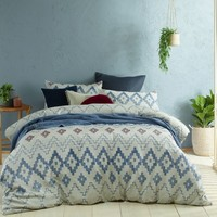 Tribal Blue Jacquard Quilt Cover Set by Accessorize