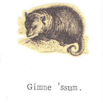Gimme 'Ssum Opossum Valentine Vintage Animal Funny Pun Nerdy Sexy Hipster Humor Weird Rustic Nature Valentine's Day Love For Him For Her