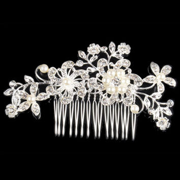 Bridal Wedding Flower Crystal Rhinestone Pearl Hair Clip Comb Pin Diamante Silver Fashion Hair Jewelry CA1T SN9
