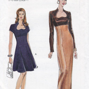 Lined Dress Inverted Heart Neckline Princess Seams 90s Sewing Pattern Vogue 9396 Size 8 10 12 Bust 31 1/2 32 1/2 34 UNCUT FF