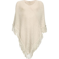 Full Tilt Fringe Girls Poncho Oatmeal  In Sizes