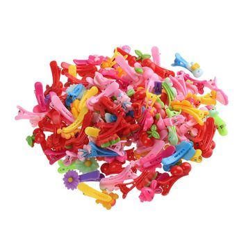 10 Pcs Mix Color Flower Cartoon Beads Candy Color Hair Clips Girls' Kids BB Hairpins Hair Accessories