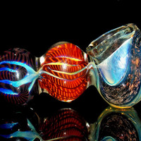 154 Gram Dichroic Triple Bubble Smoking Pipe - Sparkly Glitter Dichroic Swirl Fumed Color Changing Glass Party Size Indestructible Bowl