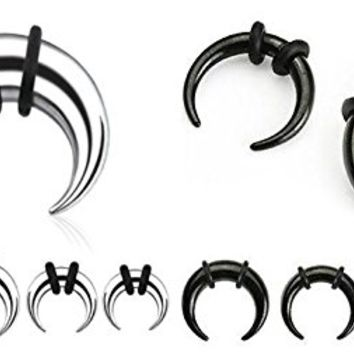 316l Surgical Stainless Steel 16g 11 Mm Crescent Half Moon Black Rubber O-ring Septum Piercing Pincher Ring (steel)