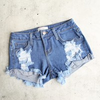 Low Rise Fitted Cutoff Distressed Shorts   Mid Wash Denim