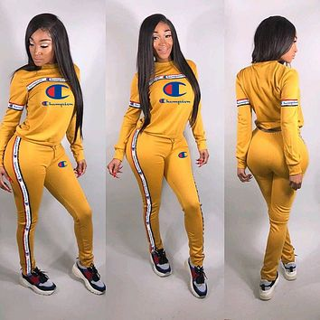 Champion tide brand female letter embroidery solid color ribbon stitching two-piece Yellow