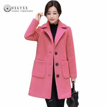 Women Wool Coats 2017 Winter New Fashion Warm Thicken Loose Long Overcoats Turn-down Collar Single Breasted Warm Parkas oka565