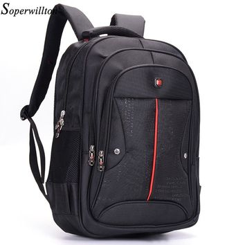Soperwillton 2018 Brand Men Backpacks Softback Men's Bag Business Laptop School Studen Backpack Male Black Large Capacity #2053