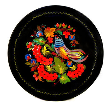 Tole Painted Wood Tray Wall Art, Floral / Bird