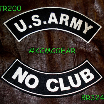 Military Patch Set U.S. Army No Club Embroidered Patches Sew on Patches for Jackets