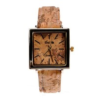 ZLYC Men Vintage Simulation Wood Grain Print Square Shaped Dial Wrist Watch Brown