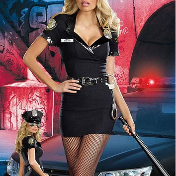 DCCKHY9 New Arrival 2016 High Quality Dirty Cop Officer Anita Bribe Costume For Women Cosplay Halloween Police Costume Outfits W418568