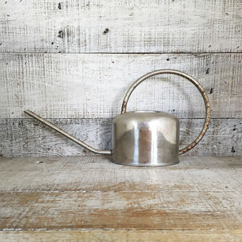 Watering Can Mid Century Watering Can Vintage Silver Watering Can Vintage Water Pitcher Flower Pot Garden Decor Cottage Chic