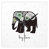 Paisley Elephant Girly Chic Love Personalized Square Wall Clock