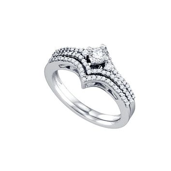 14kt White Gold Womens Round Diamond Chevron Bridal Wedding Engagement Ring Band Set 1/2 Cttw