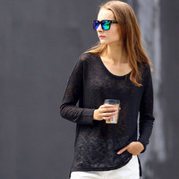 SIMPLE - Women Fashionable Black Long Sleeve Round Necked T-Shirt a10922