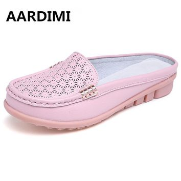 2017 HOT solid genuine leather women shoes summer sandals women slippers top quality flip flops slides flats sandals for woman