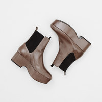 Totokaelo - Dries Van Noten Grey Flatform Ankle Boot - $995.00