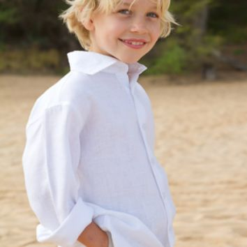 Linen Shirts for Boys (ls) - Beach Wedding Ring Bearer Attire - Island Importer